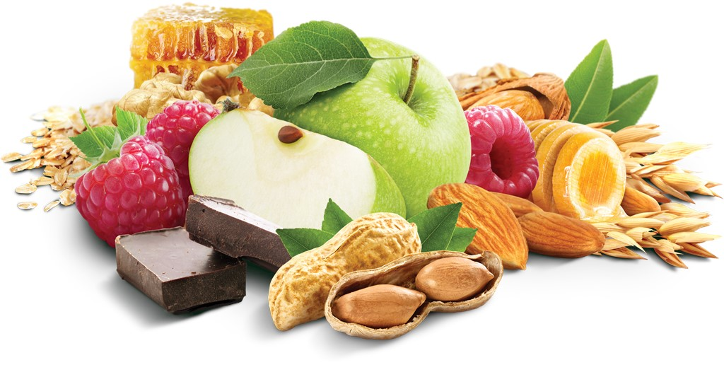 A graphic of a collection of assorted ingredients: honeycomb, oats, wheat, apples, raspberries, almonds, peanuts, and dark chocolate.